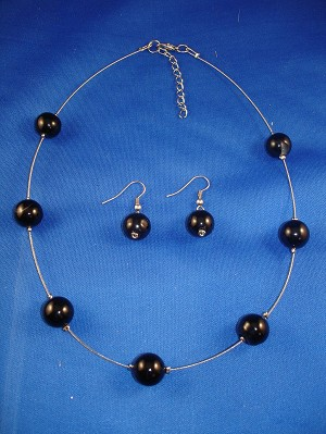 Black Diamond Round Ball Natural Stones, Set of Necklace & Earrings, European Costume Jewelry, Non-Allergic