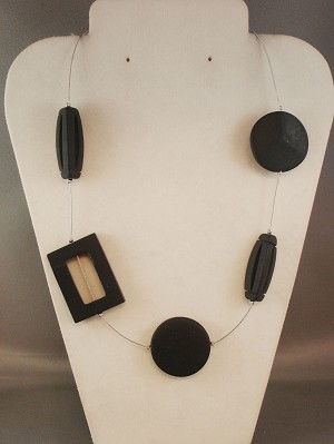 Black Gaphite Bulky Genuine Stones Necklace, Circle,  Square & 3D Triangle Beads, European Fashion Jewelry