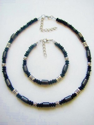 Black Hematite Men's Surfer Style Beaded Necklace Bracelet, Beach Choker