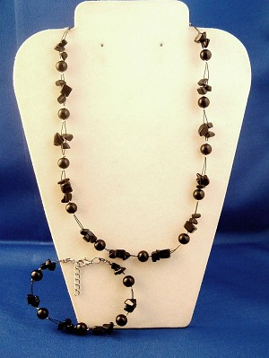 Black Set of Necklace & Bracelet, Two Layers of Genuine Shells & Artificial Pearls, Fashion European Jewelry