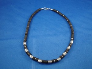 Black Surfer Style Necklace, Lucky Metal Beads, Men`s Beach Jewelry