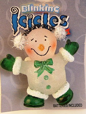 Blinking Icicle Christmas Lights Green Clown Brooch Pin, Batteries Included