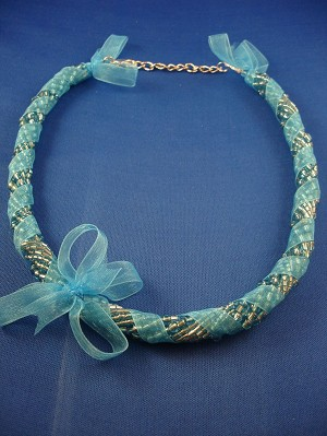 Blue Ribbon Necklace, Eight Twisted Strings of Beads, European Fashion Jewelry