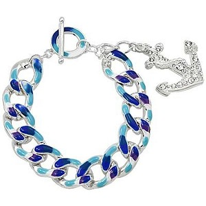 Blue/Silver Solid Chain & Large Nautical Anchor Charm Bracelet