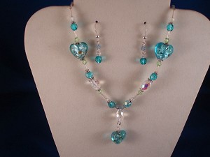 Blue Stained Glass Set of Necklace & Earrings, Heart Pendant, Non-Allergic Jewelry