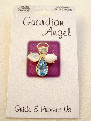 Blue Zircon-December Birthstone Guardian Angel Pin, Genuine Austrian Crystals, Gold Finish Metal