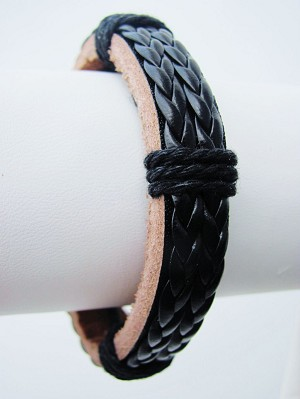 Braided Double Rope Beach/Surfer Style Black Leather Bracelet, Mens Jewelry