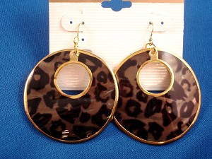 Brown Bear Animal Print Genuine Shell Earrings