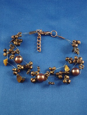 Brown Contemporary Bracelet, Artificial Pearls, Genuine Stones, Beads