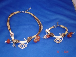 Brown Evil Eye, Set of Necklace & Bracelet, Protects from Evil Spirit, European Fashion Jewelry