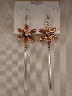 Brown Flower Dangling Earrings, CZ Stones, Stained Glass, Silver Tone Anti-allergic Metal