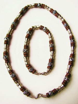 Salem Beach Beaded Necklace Bracelet, Men's Surfer Style Jewelry Brown