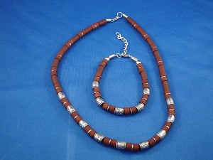 Brown Surfer Style Set of Necklace & Bracelet,  Lucky Metal Beads, Men`s Beach Jewelry