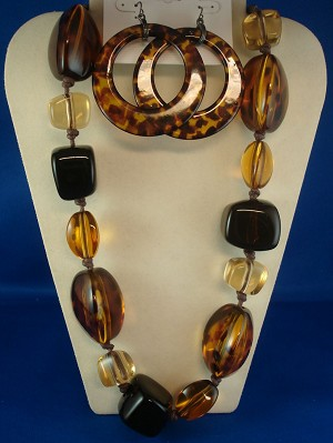Bulky Brown Set of Necklace & Earrings, Leopard Animal Print, Large Glass Beads, Anti-allergic Jewelry