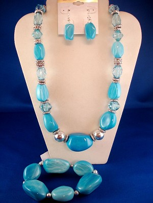 Bulky Sky Blue Set of Necklace, Bracelet & Earrings, Large Acrylic & Metal Beads, Anti-allergic Jewelry