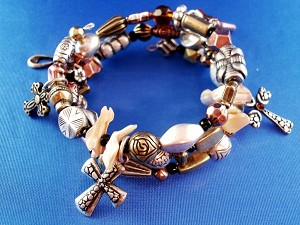 Bulky Three Layers Bypass Bangle Bracelet, Coil Stretching, Cross Charms, Genuine Shells, Cooper, Bronze & Silver Tone Beads, Anti-allergic Jewelry