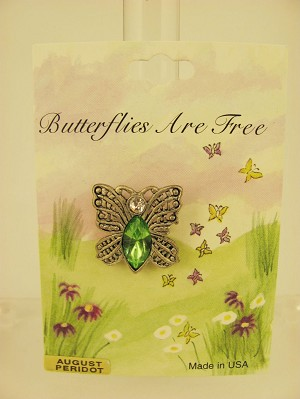 Butterfly Pin, Peridot Genuine Austrian Crystal, August Birth Stone