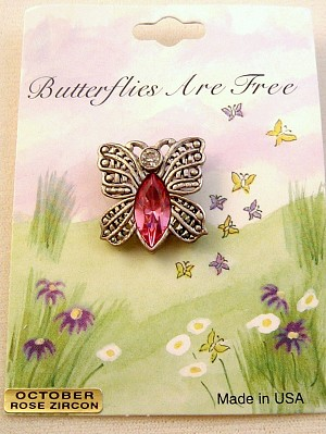 Butterfly Pin, Rose Zircon Genuine Austrian Crystal, October Birth Stone