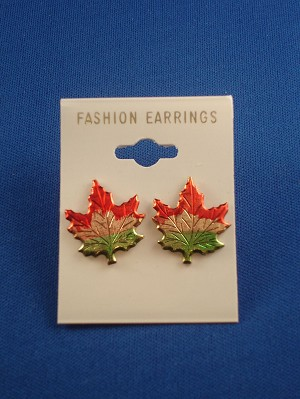 "3/4"" Canadian Maple Leaf Stud Earring, Anti-allergic Jewelry"