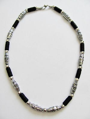 Cancun Hottest Chrome Extreme Black Men's Bead Necklace, Beach Surfer Style