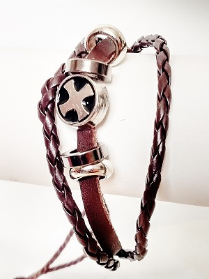 Celtic Cross Multi Layers Brown Leather Beach Bracelet Surfer Style, Mens Jewelry