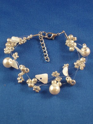 Champagne Contemporary Bracelet, Artificial Pearls, Genuine Stones, Beads