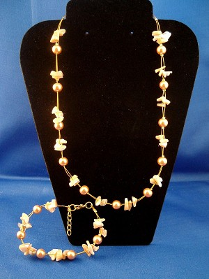Champagne Set of Necklace & Bracelet, Two Layers of Genuine Shells & Artificial Pearls, Fashion European Jewelry