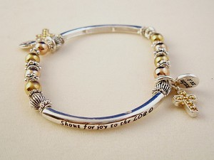 Christian Faith Inspirational Stretching Bracelet, Cross Charm, Gold Ball Beads, Silver Finish Metal, Anti-allergic Jewelry