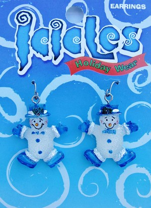 Christmas Blue Snowman Holiday Hook Earrings