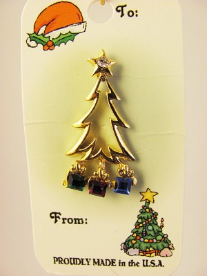 Christmas Tree Gifts Pin Gold, Genuine Austrian Crystals