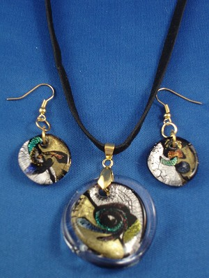Circle Shape Stained Glass Pendant, Set of Necklace & Earrings,  Mixed Bright Colors