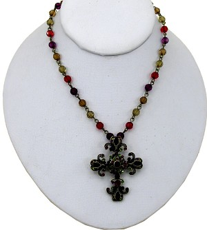Amethyst-Ruby Cross Pendant Necklace, Classic Vintage Style Bronze/Glass