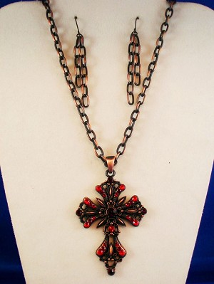 Classic Style Fashion Ruby Red Cross Set, Necklace & Earrings, Vintage Copper Chain