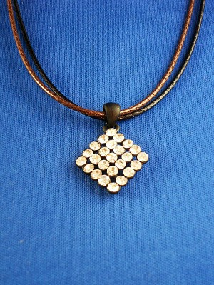 Clear Austrian Crystals Rhomb Pendant Necklace, Black & Brown Cord, European Faashion Jewelry