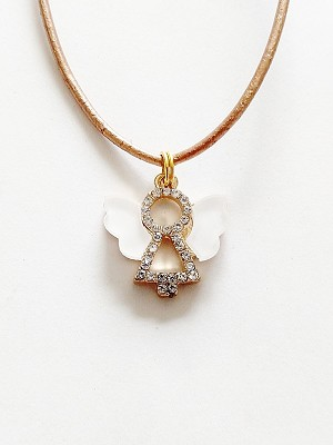 Clear Crystal Guardian Angel Pendant Beach Necklace Gold Tone