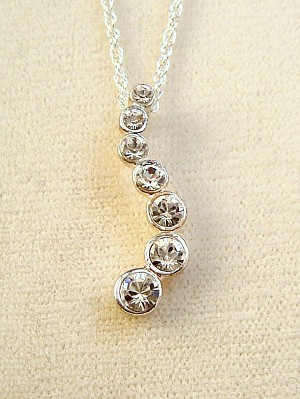 Clear Diamond Austrian Crystals Journey Pendant Chain Necklace