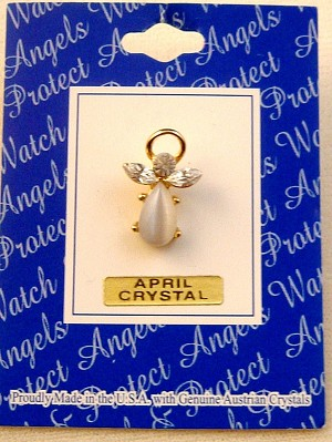Clear Diamond Crystal-April Birthstone Angel Pin, Genuine Austrian Crystals, Gold Finish Metal