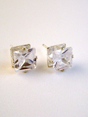 Clear Diamond Princess Cut Silver Stud Earrings Genuine CZ Cubic Zirconia