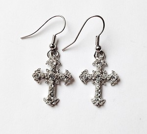 Clear Diamond Silver Cross Filigree Earrings, Genuine Austrian Crystal