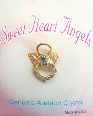 Clear Diamond Sweet Heart Angel Pin Gold Tone, Genuine Austrian Crystals