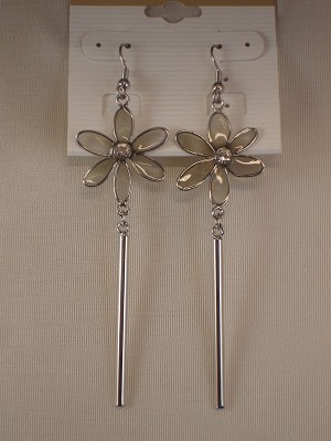 Clear Flower Dangling Earrings, CZ Stones, Stained Glass, Silver Tone Anti-allergic Metal