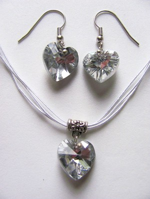 Clear Genuine Crystal Heart Charm White Necklace Earrings Set