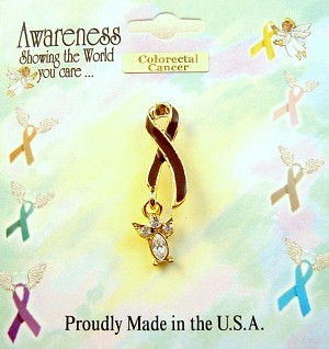 Colorectal Cancer Awareness Brown Ribbon Angel Charm Pin, Clear Diamond Genuine Austrian Crystals