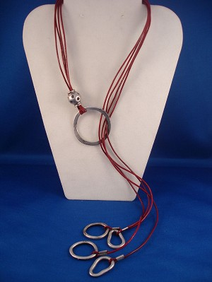 Contemporary Burgundy  Genuine Leather Necklace, Adjustable Length, European Fashion Jewelry