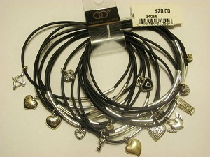 Crazy Charms Bracelet Cupid's Bow Love Angel Wings Key Heart, 15 Black Bangles Set