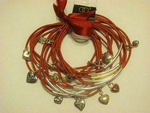 Crazy Charms Bracelet Cupid's Bow Love Angel Wings Key Heart, 15 Red Bangles Set