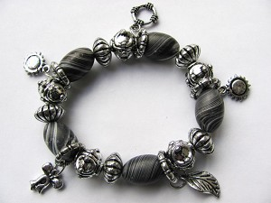 Crazy Silver Charms Stretching Bracelet, Sun Ribbon Leaf