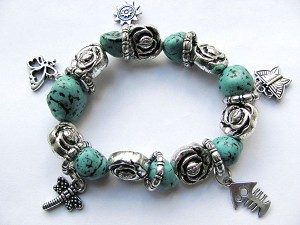 Crazy Silver Charms Turquoise & Roses Stretching Bracelet, Butterfly Dragonfly Sun Fish
