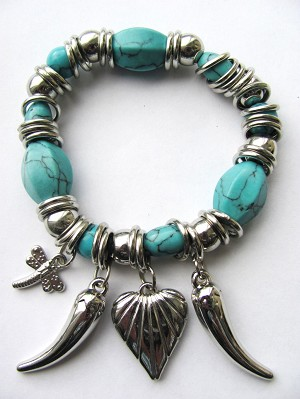 Crazy Silver Charms Turquoise Stretching Bracelet, Horn Dragonfly Heart