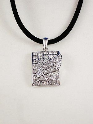 Crystals Rectangle Pendant Silver Necklace, Summer Fashion Contemporary